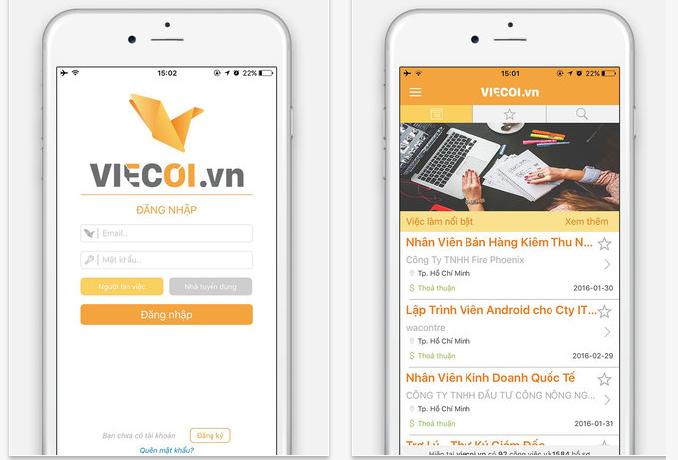 ベトナム人採用アプリViecoiのキャプチャ画像です。